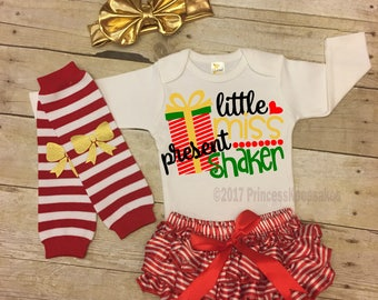 Present Shaker, Newborn Christmas Outfit, Baby Girls Christmas Outfit, Baby Santa Outfit, Baby Girls Outfit, Baby Christmas Outfit