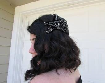 Vincent De Koven Black Velvet 1950s Beaded Hat Cap