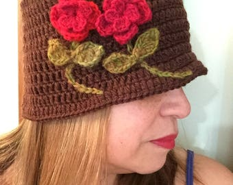 1920's Just Jack Cloche handmade crochet 100% wool in Brown with Red flower and leave accents