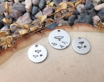 Hand stamped bird charms - set of 3 stamped discs