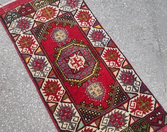 Oushak Rug,Vintage Turkish Small Rugs,Pastel Colors, Oushak  Rug,Office Decor,Home Living,1'8''x3'3''Feet, Floor Rugs,