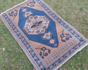 "Oushak Rug,Turkish small Rug,Vintage Small Rug,2×3'3""feet,Home Living,Area Rug,Ousha Carpet,Oushak Rug Blue,Pastel blue colorsSmall Rug"