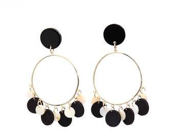 Earring,Shell and Wood Beads Earring,Drop Earring,Fashion Earring,Handmade Earring