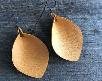 Mustard Yellow Petalleather earring