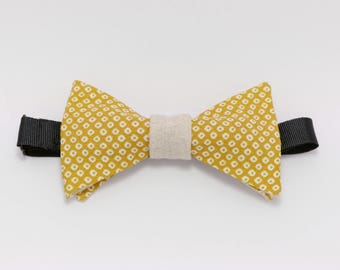Dots Galant mustard yellow and beige polka dot bowtie