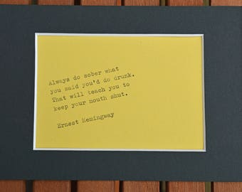 Hand typed quote with free photo mount and postage