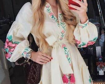 "Wow! New! Linen Embroidered Dress ""Rosemary flowers"" Ukrainian Vyshyvanka Dress Mexican Dress Kaftan Abaya, Caftan Boho style"