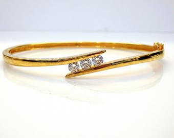 Sterling Silver Gold Plated Round Cut Cubic Zirconia Bangle Bracelet