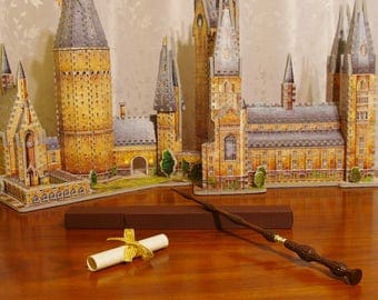 A set of 4 wizard minimalist hand painted acrylic canvas for Elder wand wood replica