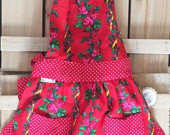 Red Floral Polish Goralski Fartuch (Apron)