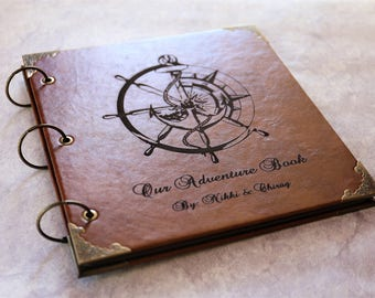 Leather Compass  Photo Compass Album /Our Adventure Book/personalized Wedding Guest Book/weddinng photo album