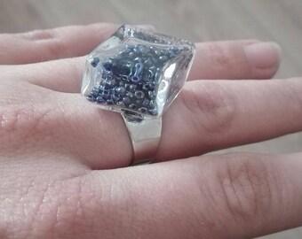 Blue diamond and Pearl Adjustable ring