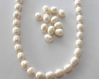 7-8mm rice pearl, beads, freshwater pearl, loose, fully drilled holes, loose pearl, wholesale, pearl strand,1/2 strand