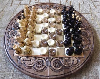 Wooden Inlaid 2 in 1 chess checkers game board set hand made #d205
