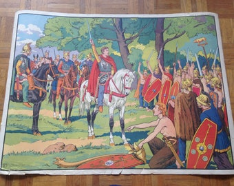 History of France poster - MDI - pictures 1 & 2 - Gaulish village / the call of Vercingetorix