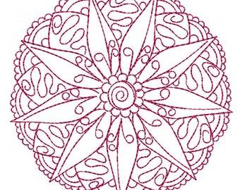 Mandala Medallion 2 Redwork - Machine Embroidery Design
