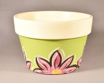 Flor Style - Hand painted pot (Primary color: Green)
