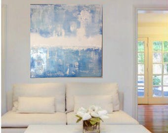 Skyline Light variations of Blue, white and textured on canvas. Modern art for home decor, office decor. Claming painting by EuropaGQ