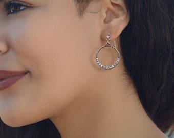 Halo Hoop Earrings, Crystal Hoop Earrings, Silver Hoop Earrings, Wedding Jewelry, Bridal Jewelry, Wedding Earrings, Hoops E805