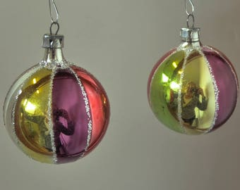 Pair of Small Glass Vintage Christmas Ornaments
