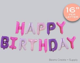 "Purple Happy Birthday Letters balloon | 16"", Girls, Party - B012"