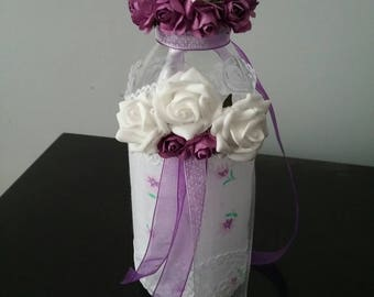 Purple and cream decorated bottle, purple altered bottle