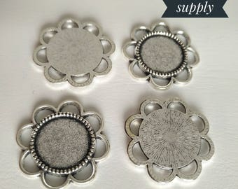 14mm Inner Size Antique Silver ,Flower Style Cabochon Base Cameo Setting Charms Pendant