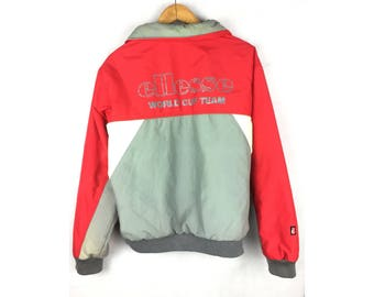 ELLESSE World Cup Team Jacket Long Sleeve Jackets With Neck Pockets Hoodies Snap Button and Zip Jaspo O Size Or Large Size