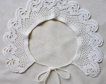 Unique handmade crochet collar white