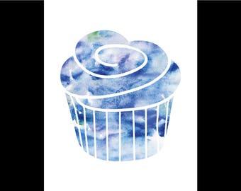 Watercolor Cupcake Print