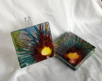 """Celebration blue and green coasters (4""""x4"""")"""
