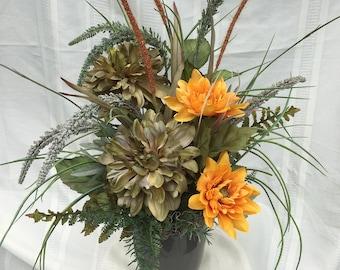 artificial autumn arrangement, fall arrangement, artificial arrangement