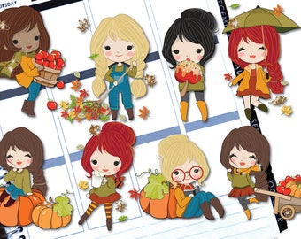 Autumn Character Die Cut Stickers  - Erin Condren Life Planners, Bullet Journals, Traveler's Notebooks