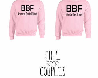 BFF Couple Sweater Rosa  - sweater,hoodie,pullover,t-shirt,tee,top,couple,Pärchen,best friends,gift,
