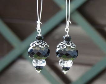 Earrings silver and black, black and silver Czech glass earrings