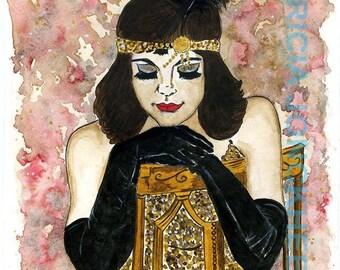 Flapper girl with long black gloves