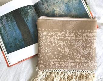 Taupe Woodblock Print Clutch