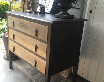 NOW SOLD ** Vintage Antique Oak Chest of Drawers Hand Painted