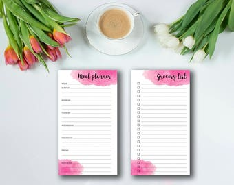 Meal planner printable : Personal Size - Diet journal - Meal printable - Weekly meal planner - Grocery list - Menu planner - Diet tracker
