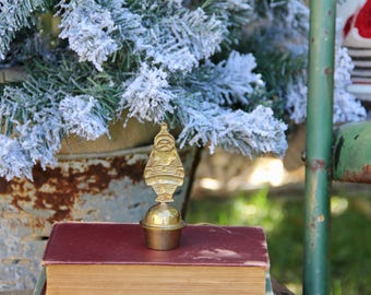 Brass Bell - Vintage Brass Bell - Brass Santa - Brass Santa Bell - Vintage Bell - Brass Christmas Decor - Vintage Christmas - Christmas Bell