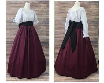 Skirt, Blouse and Sash - Renaissance Civil War Victorian Southern Belle LARP Cosplay Medieval Pioneer Dickensonian Dress Costume