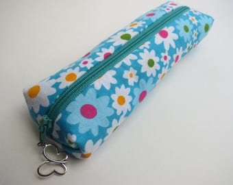Fabric pencil case, Box pencil pouch, zipper pouch, brush holder, pencil bag, mothers day gift, teachers gift, back to school gift