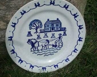 Vintage Primitive Colonial Blue Print Plate