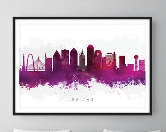 Dallas Skyline, Dallas Texas Cityscape Art Print, Wall Art, Purple Watercolor, Watercolour Art Decor