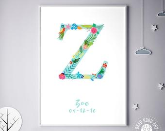 Customizable Prints, Initial Print, Customizable Poster, Zada, Zafirah, Zahavah, Zaida, Zaina, Personalized Baby Gift, Birthday