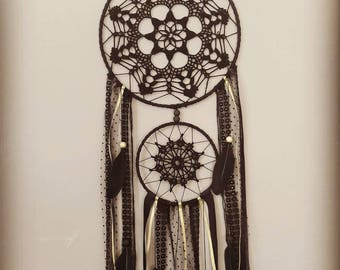 Dream catcher boho chic large molded black and gold