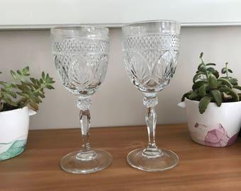 J.G. Durand, Cristal d'Arques Set of 2 Wine Glasses