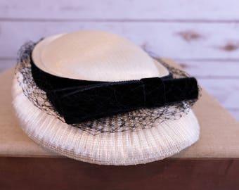 Vintage Cream woven Calot Hat with veil