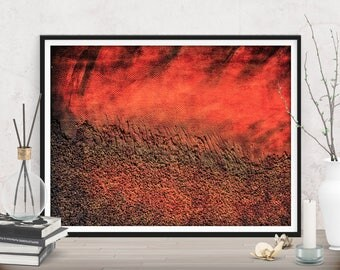 Printables large red abstract gift, Extra large download print, Contemporary home decor, Modern art prints, Rustic decor wall art