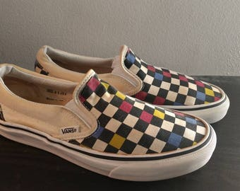 Vans Slipons Vintage Youth Checkered Shoes